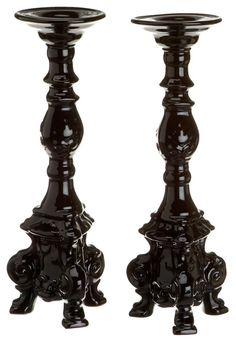 Rosanna Dauphine Black Candlesticks  Price: $65.93 Amazon  Every proper table needs a decent set of lacquered candelabras. These are as elegant as they are goth.   Set of 2.