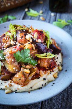 Caponata (Eggplant Stew) with Hummus