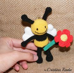 Crochet Bee tiny Bee miniature Bee Amigurumi by cutetoysbycristina
