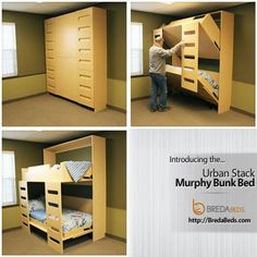Discover thousands of images about New product: Urban Stack Murphy Bunk Bed. We're pleased and excited to announce our latest product: the Urban Stack Murphy Bunk Bed! Cama Murphy, Murphy Bunk Beds, Murphy Bed Ikea, Murphy Bed Plans, Kids Bunk Beds, Murphy Etagenbetten, Small Rooms, Small Spaces, Bedroom Small