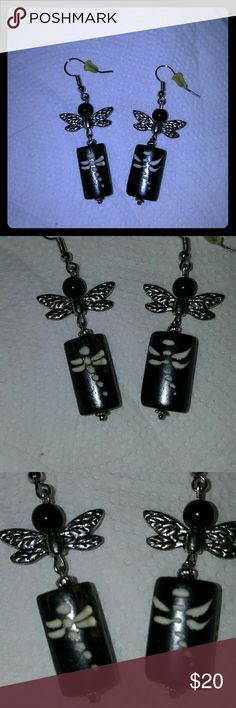 """🎉3""""long  drongonfly Earrings🎉 Black Earrings Natural Treasures  Jewelry Earrings"""