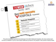 #YashodaHospitals now Ranks No.1 (in Hyderabad) at #the #WEEK - #NIELSEN #Survey of #Best #Hospitals #2015. This is BIG News to celebrate, and equally historical to record and treasure.