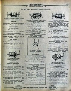 Menotomy Vintage Bicycles at OldRoads.com:  Sturmey-Archer 2 and 3-speed hubs in 1939