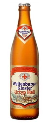 Cerveja Weltenburger Kloster Urtyp Hell, estilo Munich Helles, produzida por Klosterbrauerei Weltenburg, Alemanha. 4.9% ABV de álcool.
