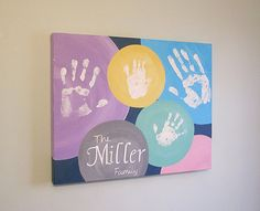 Any Color Family Handprint Canvas Art with Print by SnowFlowerArts (Diy Canvas) Family Crafts, Baby Crafts, Fun Crafts, Diy And Crafts, Crafts For Kids, Arts And Crafts, Art Diy, Footprint Art, Diy Canvas