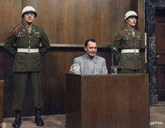 Hermann Göring sits in the dock at the Nuremberg trial 1946.