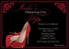 Red Glitter Shoes Birthday Invitation • Fifty   Fabulous Personalized  Women s Birthday Invitation • Red 24f7feb26
