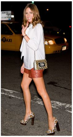 op // leather shorts and love the print heels