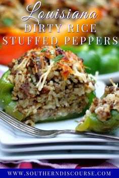Louisiana Dirty Rice Stuffed Peppers   southern discourse Louisiana Recipes, Southern Recipes, Cooking Peppers, Stuffed Peppers With Rice, Easy Delicious Recipes, Yummy Food, Rice Stuffing, Sweet Bell Peppers, Dirty Rice