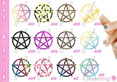 Nail Art Decals Stickers Pentagram Wicca Wiccan Pentacle Magic Spirit PEN902