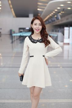 OL doll collar lace long sleeve dress - #Fashion #Mode #Style