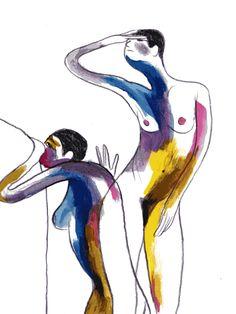Even kijken hoor Illustrations, Illustration Art, Arte Peculiar, Art Folder, Guache, Art Graphique, Aesthetic Art, Figure Drawing, Figurative Art