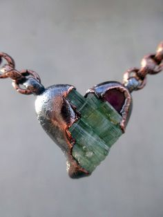 Heart Chakra Necklace with Green and Pink Tourmaline, Love and Compassion, Sacred Object, Fifth Chakra, Heart Shape, Joie de Vivre by SilviasCreations on Etsy