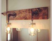 Industrial/Modern Wood Handmade Mason Jar Light Fixture