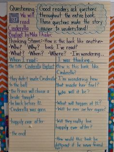 Anchor Chart - Think Aloud - 2nd Grade - Cinderella Bigfoot by Mike Thaler - This is the anchor chart after the lesson was completed. The graphic organizer was blank. Great book... funny!