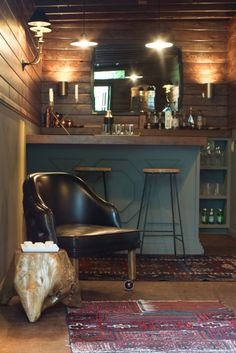 'The Fort' Mancave - Emily Henderson Home Bar Rooms, Home Bar Areas, Diy Home Bar, Home Pub, Home Bar Decor, Bars For Home, Garden Bar Shed, Coin Bar, Home Bar Counter