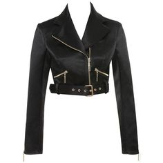 'Grandeur' Black Satin Cropped Jacket - Mistress Rocks ($85) ❤ liked on Polyvore featuring outerwear, jackets, long sleeve crop jacket, zip jacket, cropped jacket, zipper jacket and satin jackets