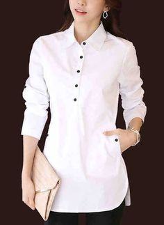 Latest fashion trends in women's Blouses. Shop online for fashionable ladies' Blouses at Floryday - your favourite high street store. Frock Fashion, Fashion Dresses, Women's Fashion, Fashion Boots, Blouse Styles, Blouse Designs, Designs For Dresses, Cotton Blouses, Women's Blouses