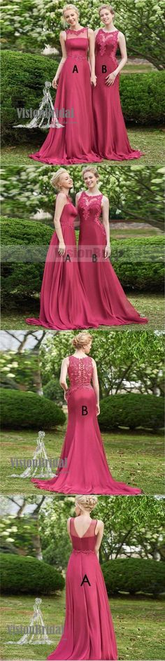 Beautiful Hot Pink Mismatched Long Soft Satin Bridesmaid Dresses Combined With Lace, Elegant Bridesmaid Dresses, VB0835 #bridesmaiddress #bridesmaiddresses #bridesmaids
