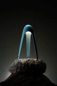 LED polycarbonate table lamp CYBORG by Martinelli Luce design Karim Rashid