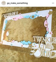 Cute sparkly gold, pink and blue Twinkle twinkle gender reveal photo frame. $30.00 More @ Go_make_something