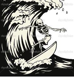 Surf skeleton tattoo idea