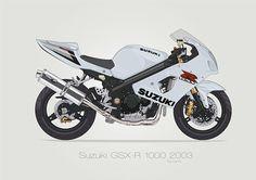 Illustration of a Suzuki GSXR 1000. Full stock, half faired, street and Yoshimura Edition.