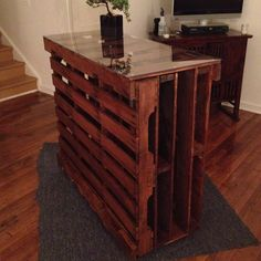 This would be an awesome idea for our gameroom. Especially if we added wine storage on the ends, a penny top and a cutout in the middle for our large floor speaker!