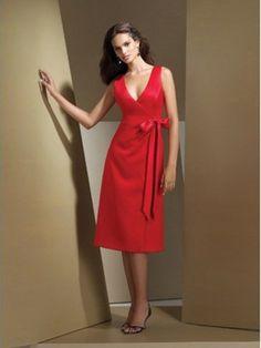neck Knee-length Satin Red Dress