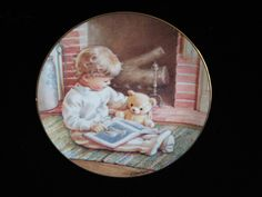 """Collectable plate """"Read me a story"""" - Kathy Lawrence Vintage Crockery, Danbury Mint, American Greetings, Plates, Reading, Etsy, Licence Plates, Dishes, Griddles"""