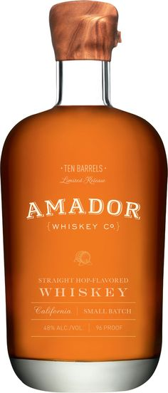 Amador Ten Barrels Straight Hop-Flavored Whiskey.  Crafted by a 12th generation master distiller, this #whiskey is matured in French oak wine barrels and chardonnay casks. | @Caskers
