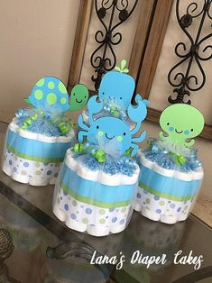 Blue & Green Under The Sea Mini Diaper Cake Baby Shower Centerpiece - Top Trends Baby Shower Diapers, Baby Shower Cakes, Baby Boy Shower, Shower Party, Baby Shower Parties, Baby Showers, Elephant Diaper Cakes, Mini Diaper Cakes, Baby Shower Centerpieces