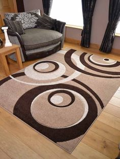 Rug 120 x 170 Large Living Room Modern Contemporary Design 10 mm Ultra Soft Pile Room Rugs, Rugs In Living Room, Area Rugs, Image Peppa Pig, Porch Mat, Entrance Door Mats, Fru Fru, Rubber Flooring, Circle Pattern