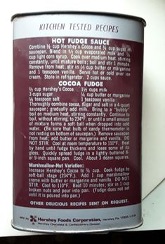 This is the back of Hershey's metal cocoa can. Hershey Recipes, Cocoa Recipes, Fudge Recipes, Candy Recipes, Sweet Recipes, Sauce Recipes, Hersheys Cocoa Fudge, Hershey Cocoa Frosting Recipe, Hershey Chocolate Fudge Recipe