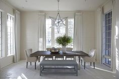 House of Turquoise: Melanie Turner Interiors Mixed Dining Chairs, Mismatched Dining Chairs, Metal Dining Table, Dining Tables, Dining Area, White Painted Floors, White Paneling, Cottage Dining Rooms, Dining Room Furniture