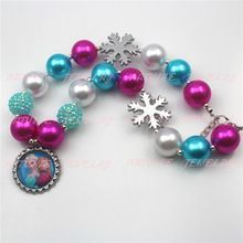 2pcs New Silver Snowflake Frozen inspired girls chunky necklace Bottlecap Frozen Elsa&Ann Necklace statement necklaces CB506()