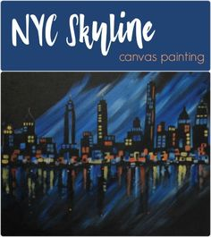Social Artworking: NYC Night Skyline |  The lights of the Big Apple reflect off the Hudson in this landscape design. Add that vibrant city feel to your home with this painting. This would also make the perfect gift for someone heading off to pursue their dreams in New York City. #socialartworking