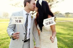 I'm His Mrs I'm Her Mr Signs  Photo Prop  Rustic by liddabits, $11.99