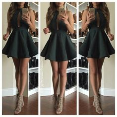 |Emerald dress with cutout and beige heels|