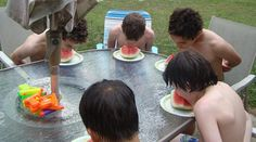 water birthday party, watermelon eating