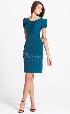 Sheath/Column Jewel,With Sleeves Chiffon Short/Mini Ink Blue Bridesmaid Dresses(BD076)