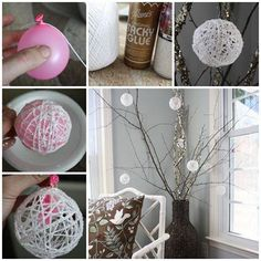 String glitter balls.   Blow up a med size balloon. Dip white yarn or string in a mixture of elmers glue and enough water to thin it. Wipe off excess glue and wrap around balloon to make a ball.   Can sprinkle with glitter it desired.  Hang until dry.  Usually overnight.  Pop balloon and remove pieces of rubber.  Hang with colored ribbon.