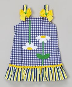 This Blue Daisy Appliqué Ruffle Dress - Infant, Toddler & Girls by Youngland is perfect! #zulilyfinds