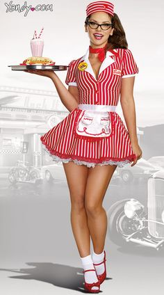 Sexy Halloween Costumes for Women, 2019 Adult Halloween Costume Ideas Pin Up Girl Costume, Girl Costumes, Adult Costumes, Costumes For Women, 1950s Costumes, Poodle Skirt Costume, Red Costume, Doll Costume, White Halloween Costumes