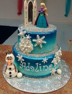 Pretty+Ana+and+Olaf+Frozen+Birthday+Cake