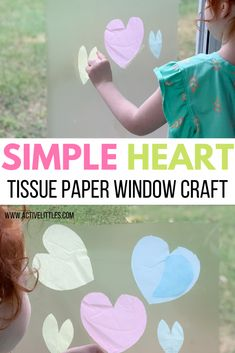 Simple Heart Tissue Paper Window Craft for Kids - Active Littles Valentines Day Crafts For Preschoolers, Valentine Day Crafts, Crafts For Kids, Craft Activities, Preschool Crafts, Tissue Paper Crafts, Stained Glass Crafts, Scotch Tape, Heart Crafts