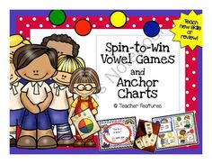 Spin-to-Win Vowel Games & Anchor Charts from Teacher Features on TeachersNotebook.com -  (30 pages)  - Your kiddos will love this pack and want to play again! Spin-to-Win Games and Anchor Charts is a hands-on and effective way for students to learn vowel team differences and sounds.
