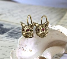 Victorian Fox Earrings 14k & Ruby Emerald by TheEdenCollective