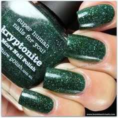 piCture pOlish Kryptonite - a dark green jelly with holo particles (2 coats) #nail #nails #nailpolish