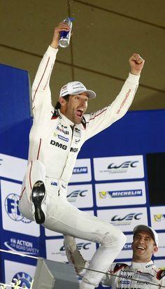 Mark Webber celebrates the drivers' championship in Bahrain.